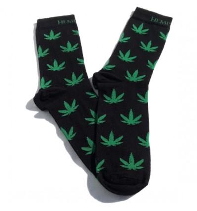Kojinės su kanapės lapais, sidabro jonų apdaila (juodos)