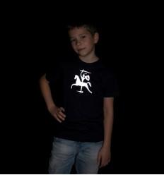 Vaikiški šviesą atspindintys marškinėliai su Vyčiu, tamsiai mėlyni