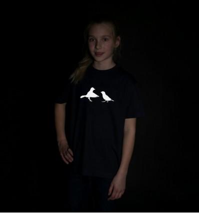 Vaikiški šviesą atspindintys marškinėliai su paukščiais, tamsiai mėlyni
