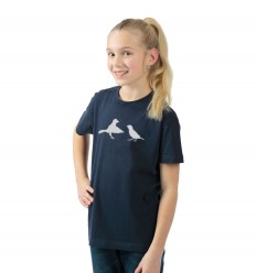 Kids reflective T-shirt with birds, navy