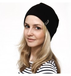 Hemp beanie hat, black