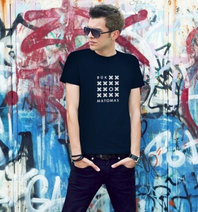 Marškinėliai BŪK MATOMAS - atšvaitu, vyriški, tamsiai mėlyni