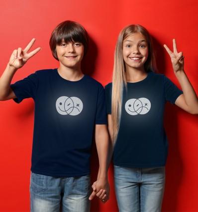 Marškinėliai atšvaitai EMOJI, vaikiški, tamsiai mėlyni