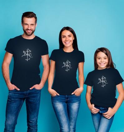 Marškinėliai su Vyčiu - atšvaitu, vyriški, tamsiai mėlyni
