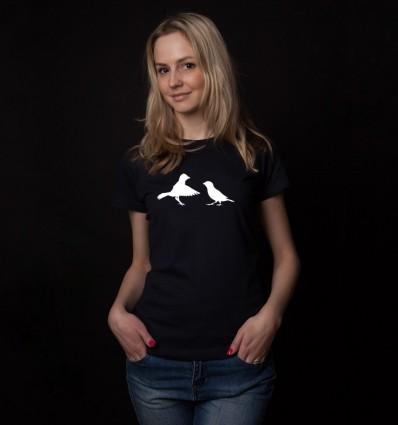 Marškinėliai su atšvaitais - paukščiais, moteriški