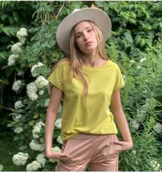 Kanapių  marškinėliai, moteriški, geltoni