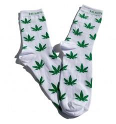 Kojinės su kanapės lapais, sidabro jonų apdaila (baltos)