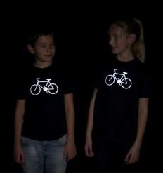 Vaikiški šviesą atspindintys marškinėliai su dviračiu, tamsiai mėlyni