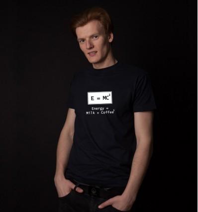 Marškinėliai su atšvaitais - su energijos formule, vyriški, tamsiai mėlyni