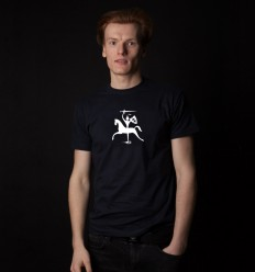 Men's Reflective T-shirt with Vytis, navy blue