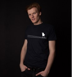 Men's reflective T-shirt with a bird on line, navy blue