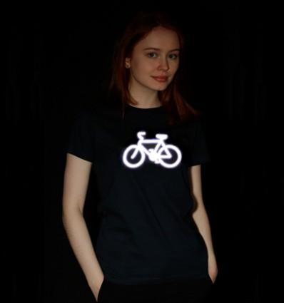 Marškinėliai su dviračiu, šviesą atspindintys, moteriški, tamsiai mėlyni