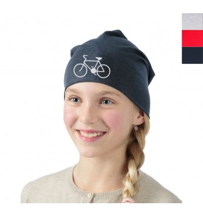 Reflective hat with bicycle